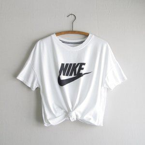 Nike white spellout swoosh graphic tee